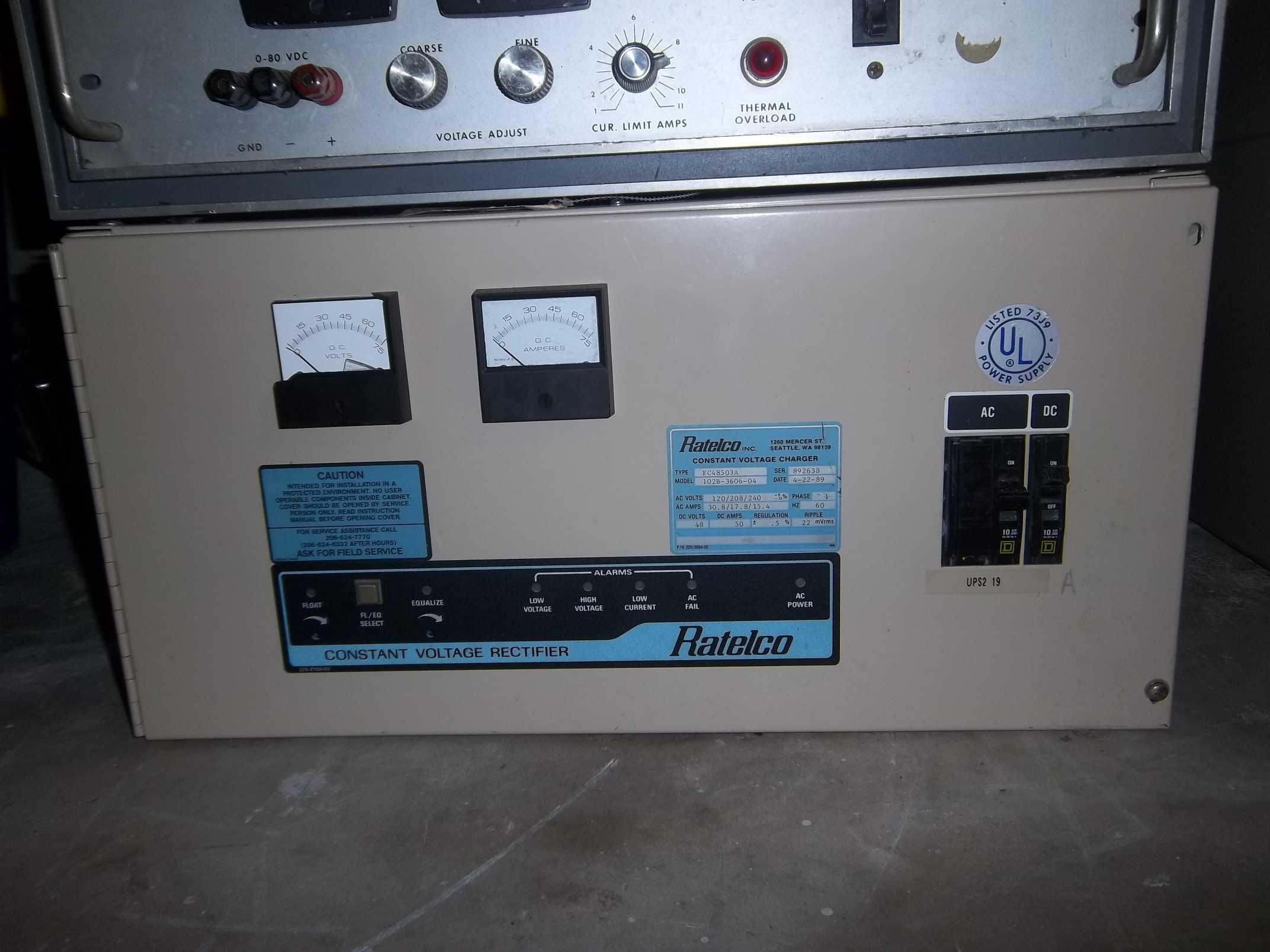 Eric's Warehouse - Ratelco model 102b-3606-04 rectifier 48V