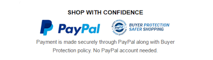 Payments made securely through Paypal with Buyer Protection.